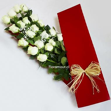 Espectacular Caja Roja Con 20 Rosas Importadas