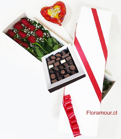 Caja Blanca De Rosas Con Chocolates (Bombones) Y Globo Metálico