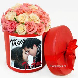 Exclusiva Caja Redonda 21 Rosas Importadas Con Imagen Fotográfica