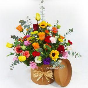 Caja tambor con flores primaverales