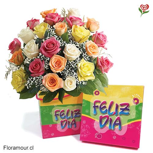 Caja con rosas multicolor