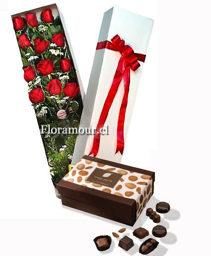 Venta de cajas de rosas con bombones